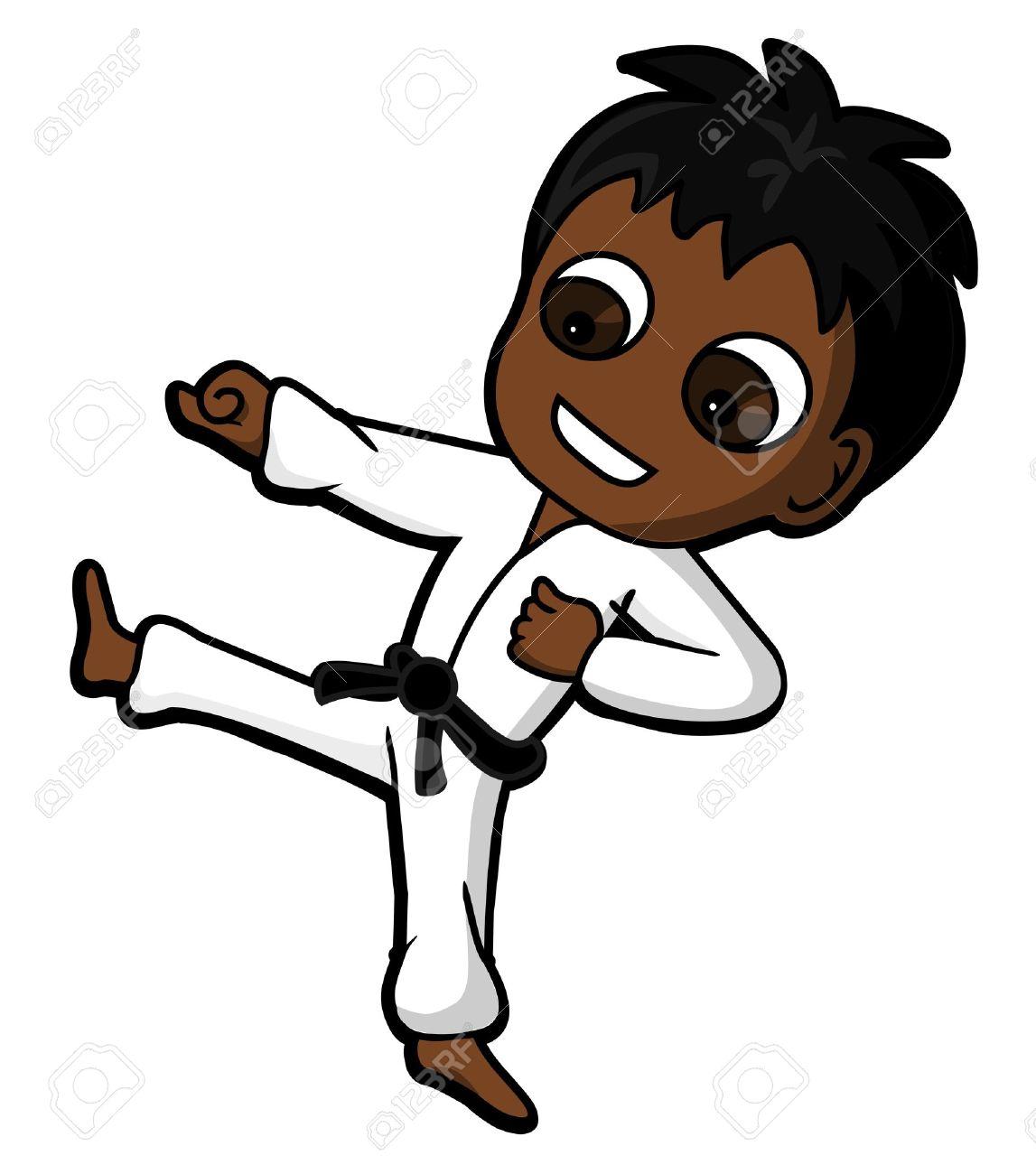 Carácter Del Cabrito Practicando Karate Patadas Y Puñetazos ...