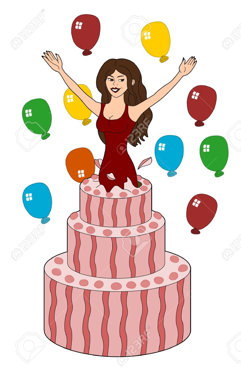 Amazing Young Woman Jumping Out Of A Birthday Cake Illustration Isolated Personalised Birthday Cards Veneteletsinfo