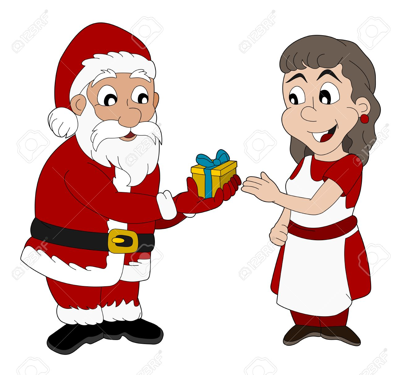 Christmas Illustration Of Santa Claus Giving A Present To Mrs Claus Stock Vector 23842795