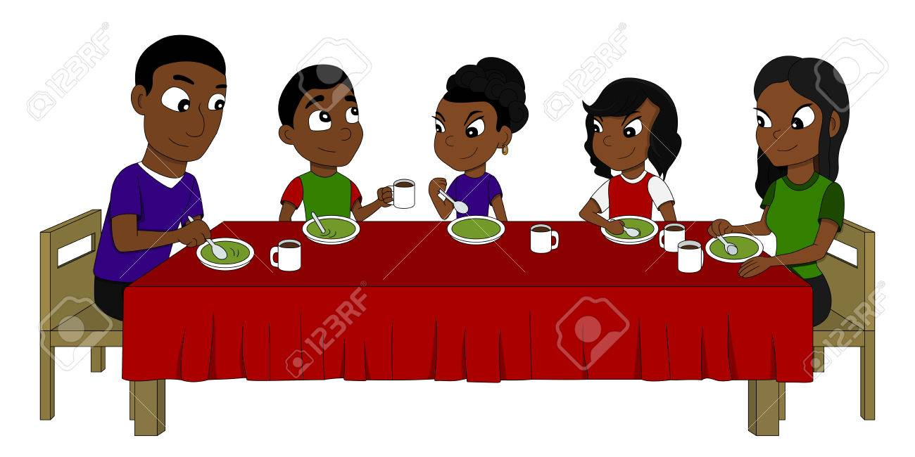 Illustration Of African American Family Five Members Dining At The Dinner Table Eating Soup