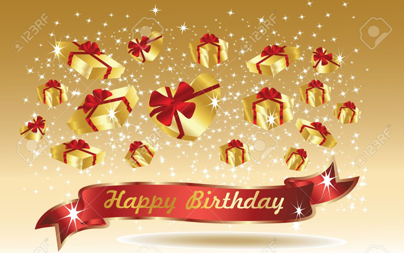 Birthday Cards By Text ~ Gold birthday card with ribbon royalty free cliparts vectors and