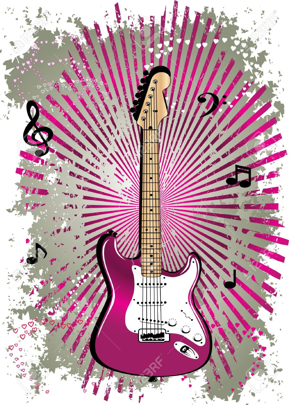 pink guitar Stock Vector - 12519182