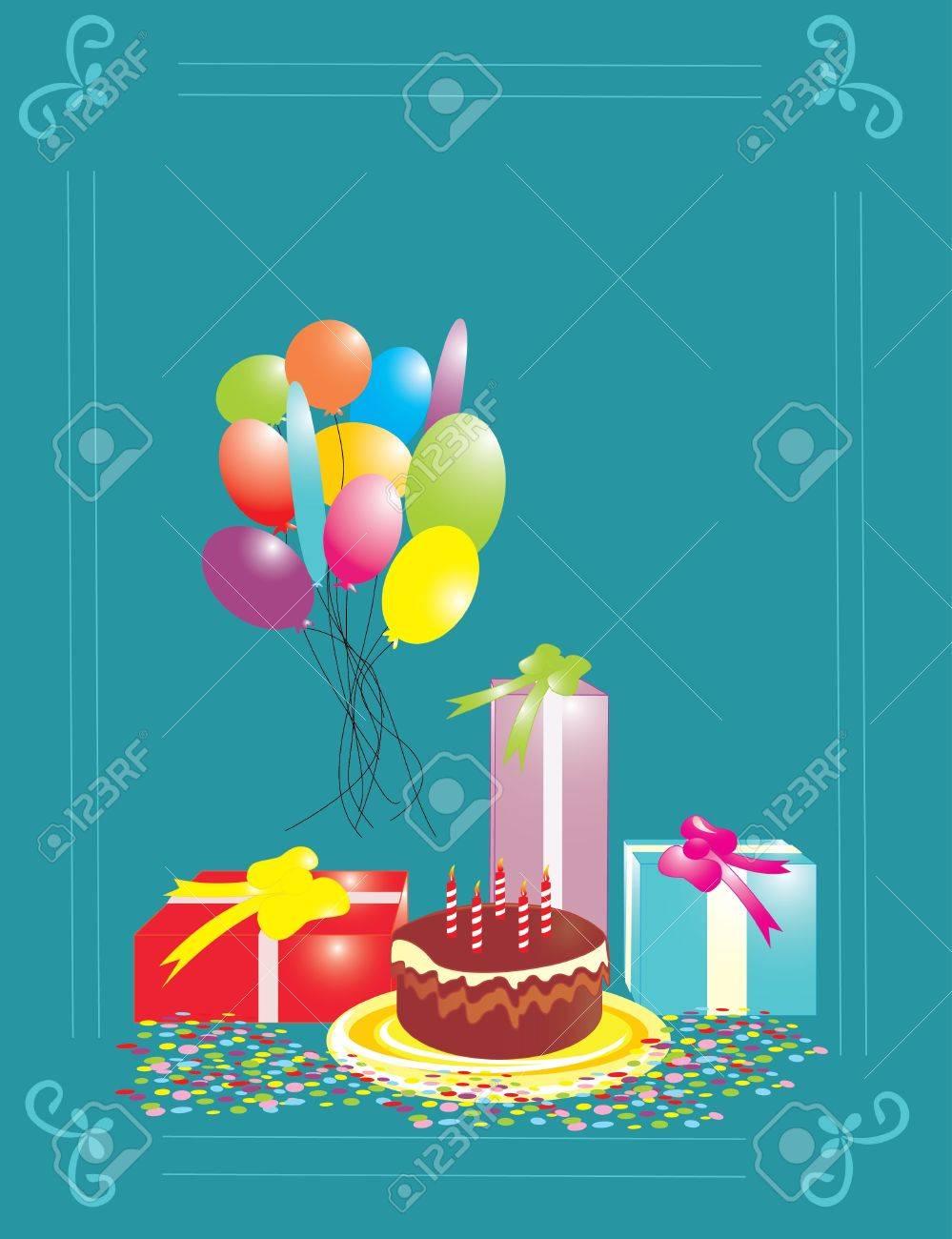 blue birthday card Stock Vector - 13342586