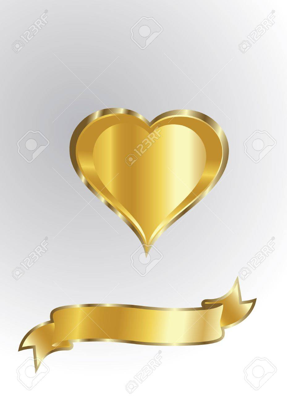 golden heart isolated Stock Vector - 12827753