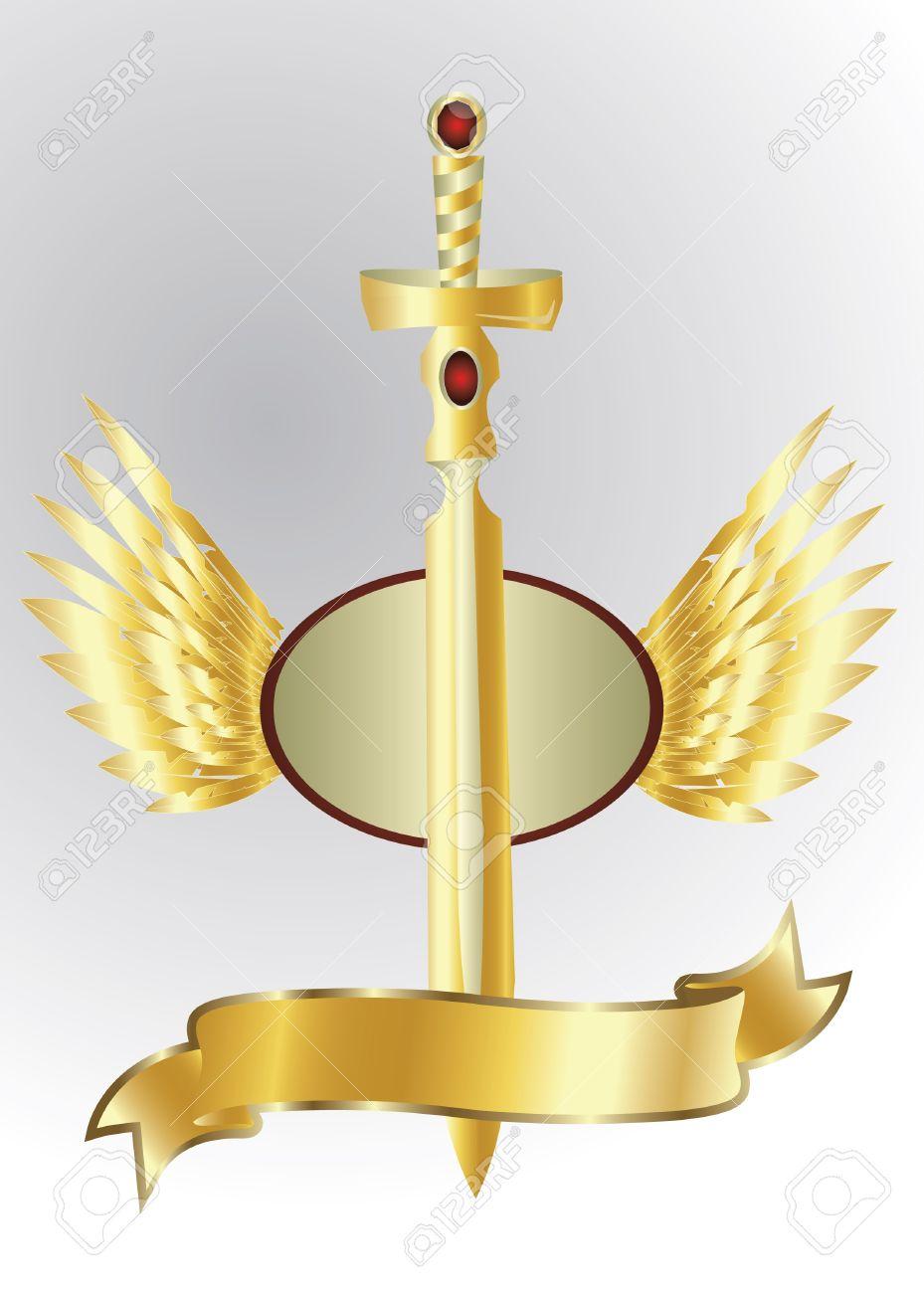 golden sword isolated Stock Vector - 12827803