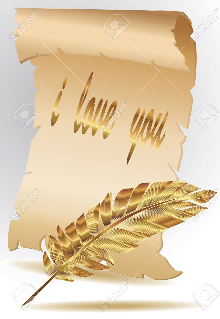 parchment paper with gold feather Stock Vector - 13352086