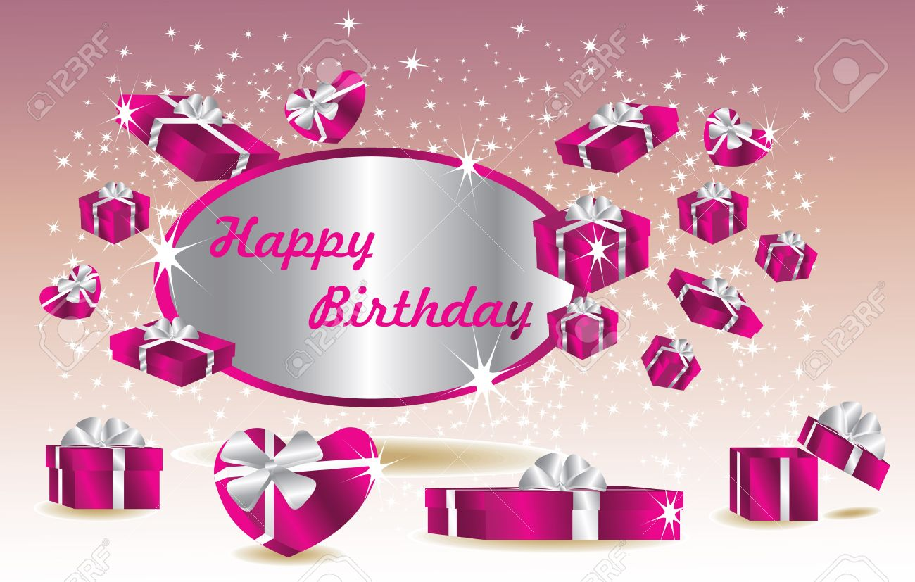 Purple Birthday Card With Gifts Stock Vector