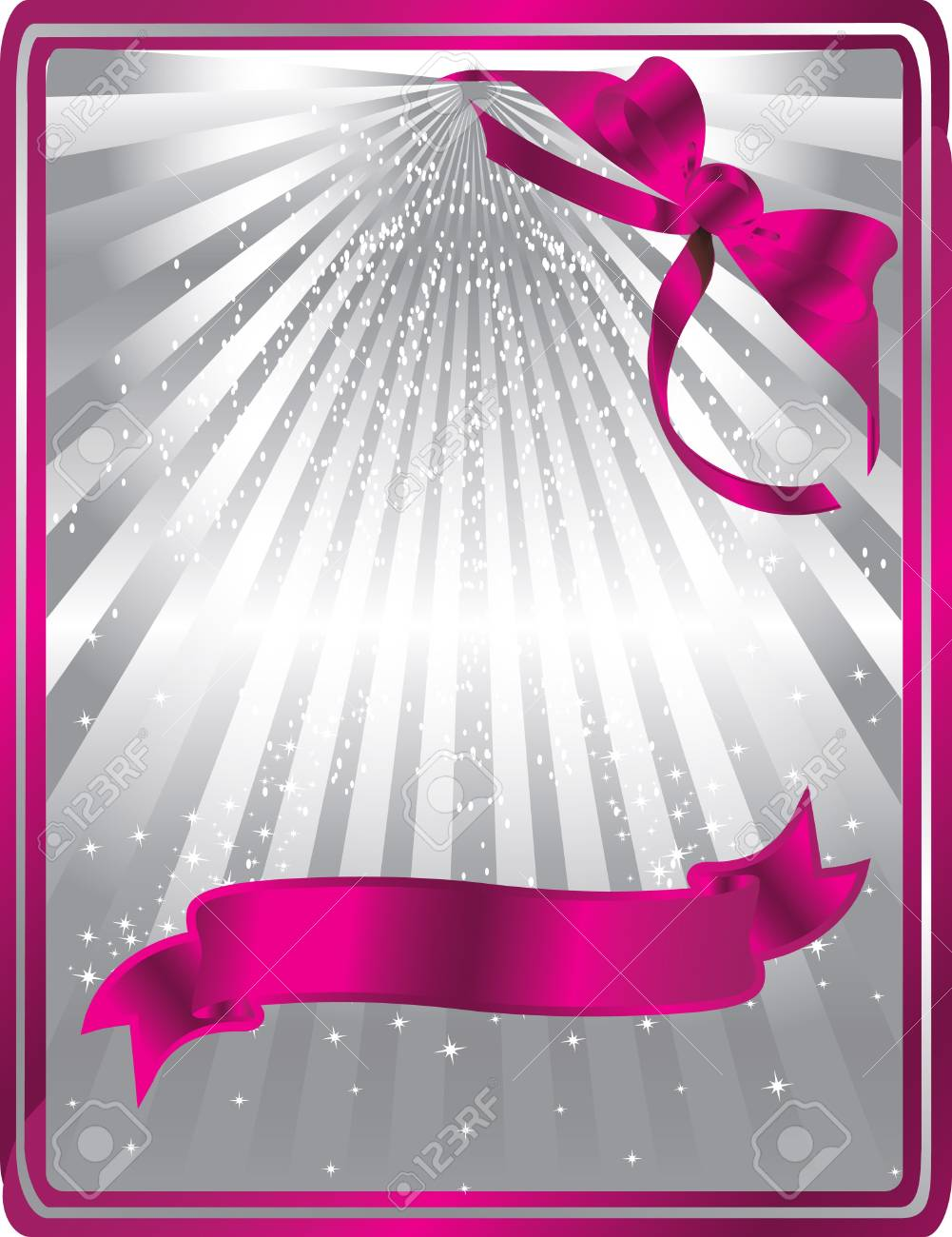 silver card with pink ribbons Stock Vector - 13372335