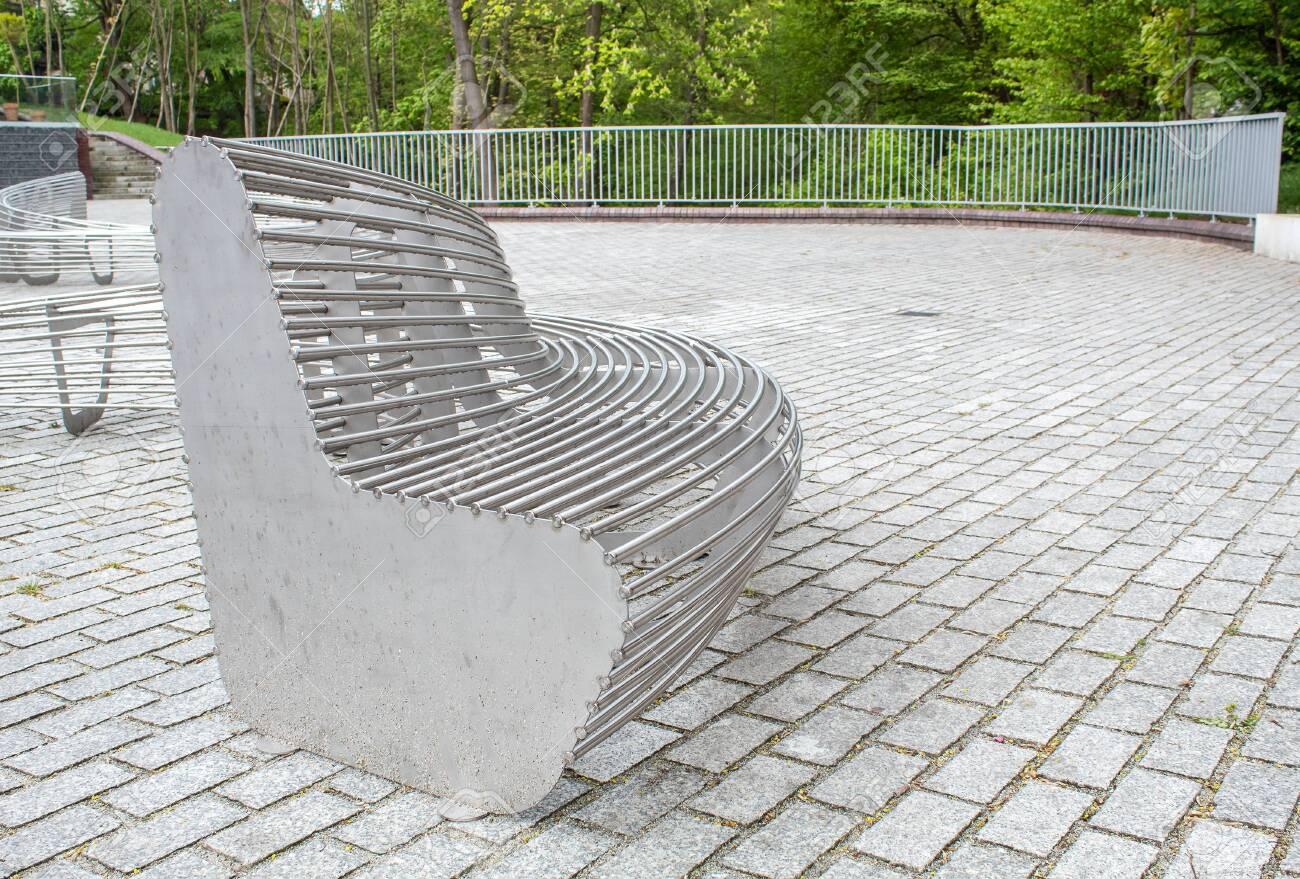 Fantastic Modern Metal Round Garden Bench In The City Park On Sunny Summer Machost Co Dining Chair Design Ideas Machostcouk