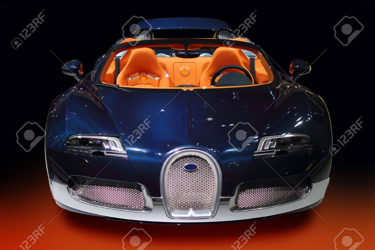 Luxury Sport Car Blue With Orange Interior Stock Photo Picture And