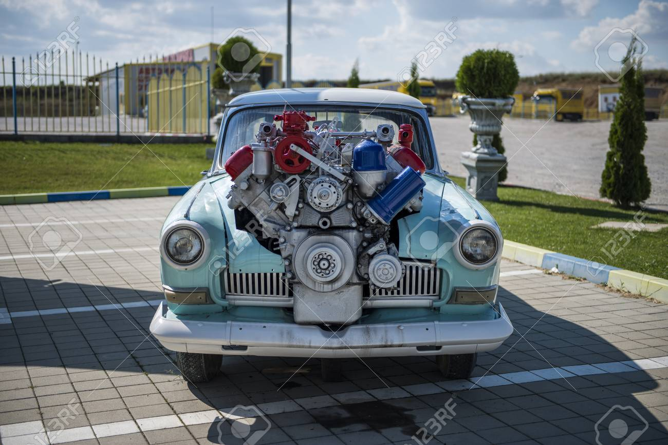 Old Car Engine Front View Stock Photo Picture And Royalty Free