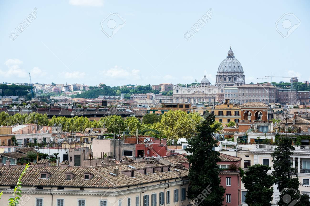 Panorama Of Rome From Piazza Del Popolo And Terrazza Del Pincio