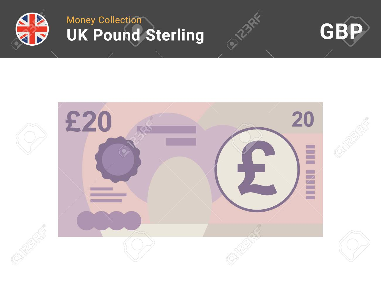 20 Pound sterling banknote. British money. Currency. Vector illustration. - 101045451