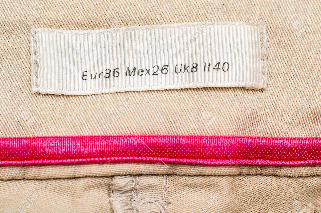 Macro Photo Of A Clothing Label Showing Medium Size (European, Mexican, United Kingdom and Italy Equivalents) Stock Photo - 17992310