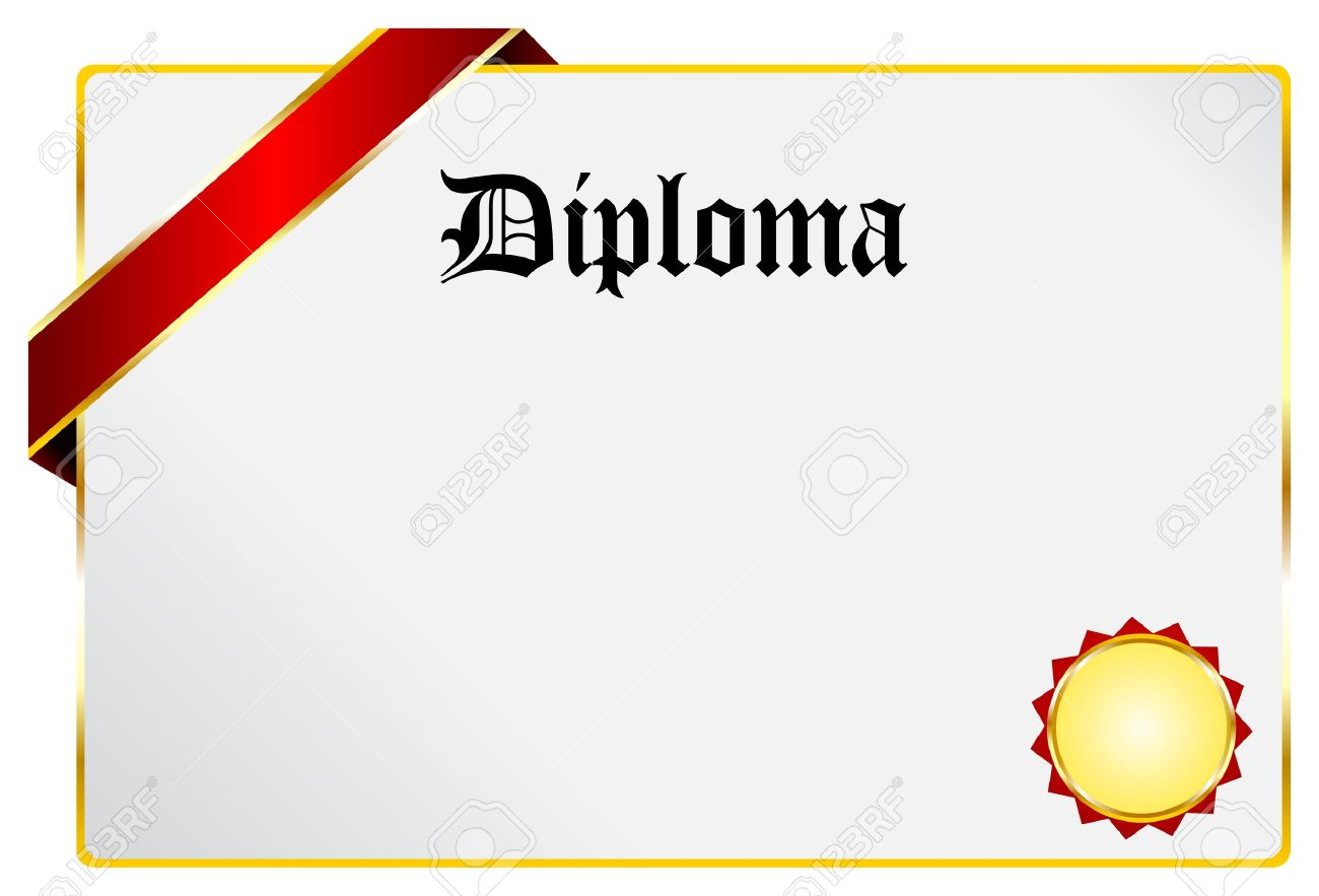 blank diploma document with golden ribbon isolated on white royalty