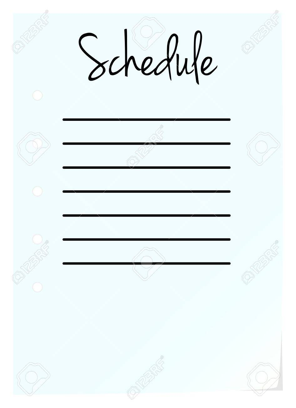 Schedule Page On White Background Stock Vector - 18142483