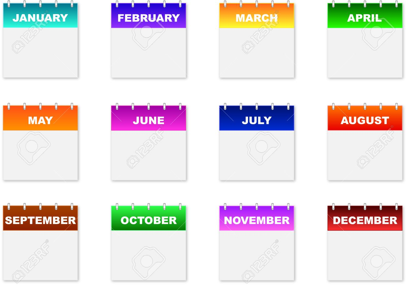 Monthly Calendar Icons On A White Background Royalty Free Cliparts ...