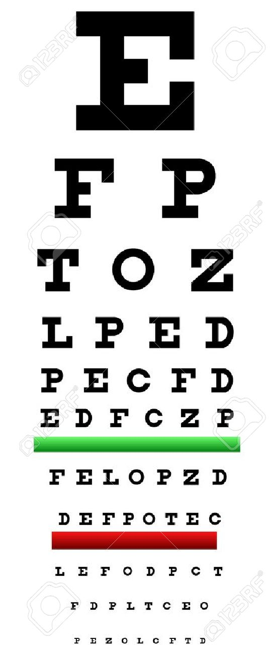 Eye Chart Illustration Also Called Snellen Chart. It Is An Eye Chart Used For Measuring Visual Acuity Stock Vector - 18594022