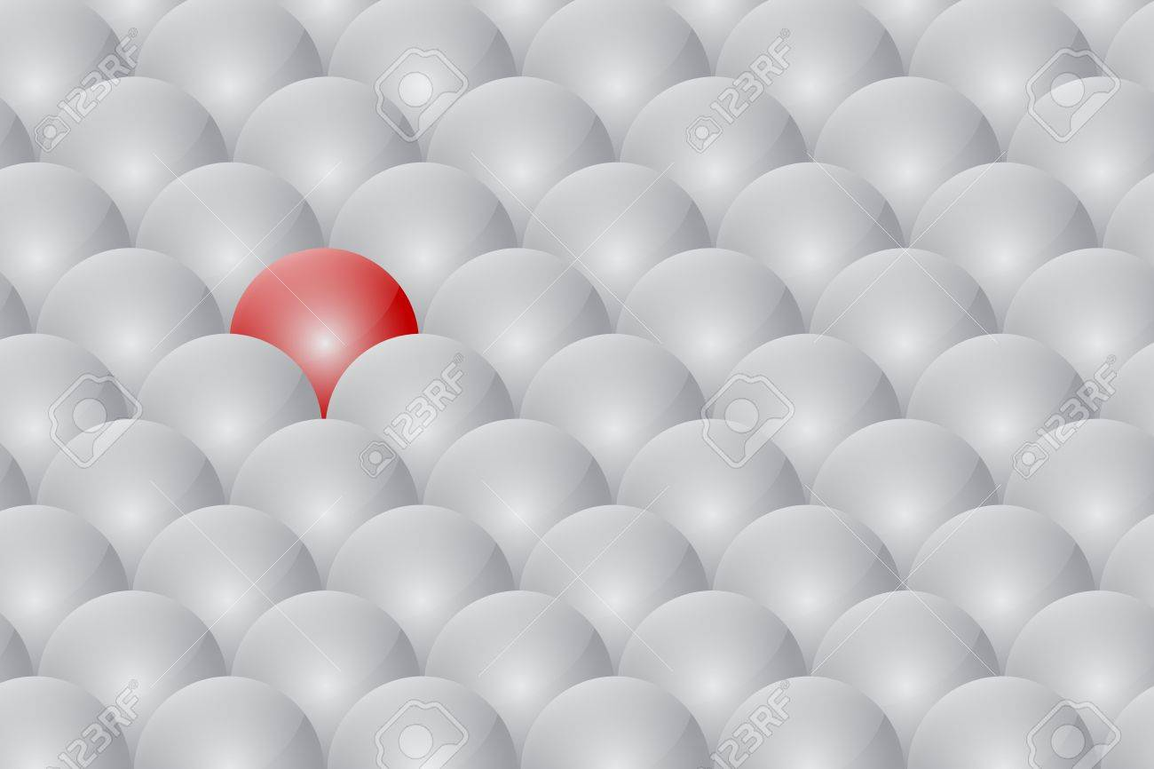 Red Ball Different From The Rest Stock Photo - 18625299