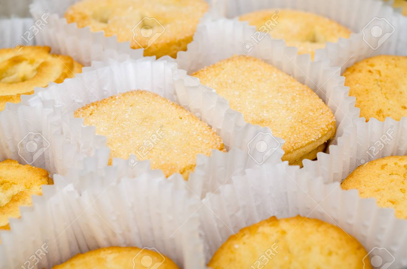 Different Biscuits With Sugar In A Box Stock Photo - 18762527