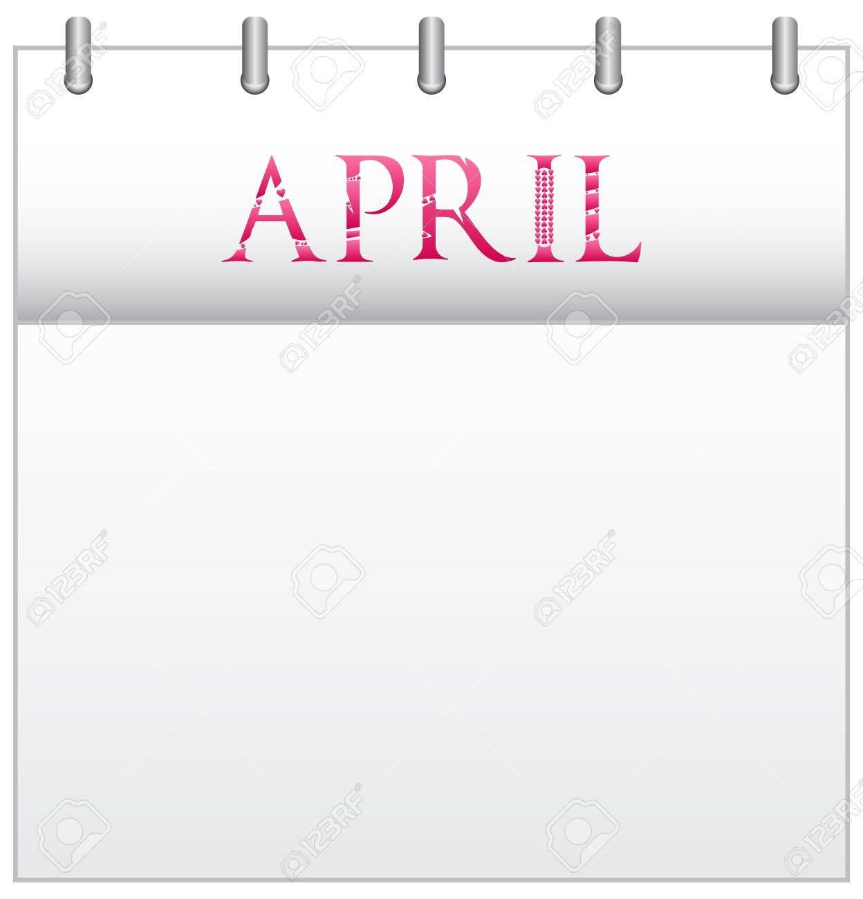 Calendar Month April With Custom Love Font Stock Vector - 19049679