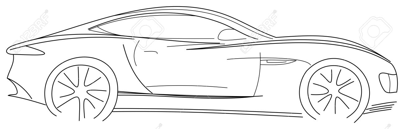 Sports Car Sketch Illustration Royalty Free Cliparts Vectors And