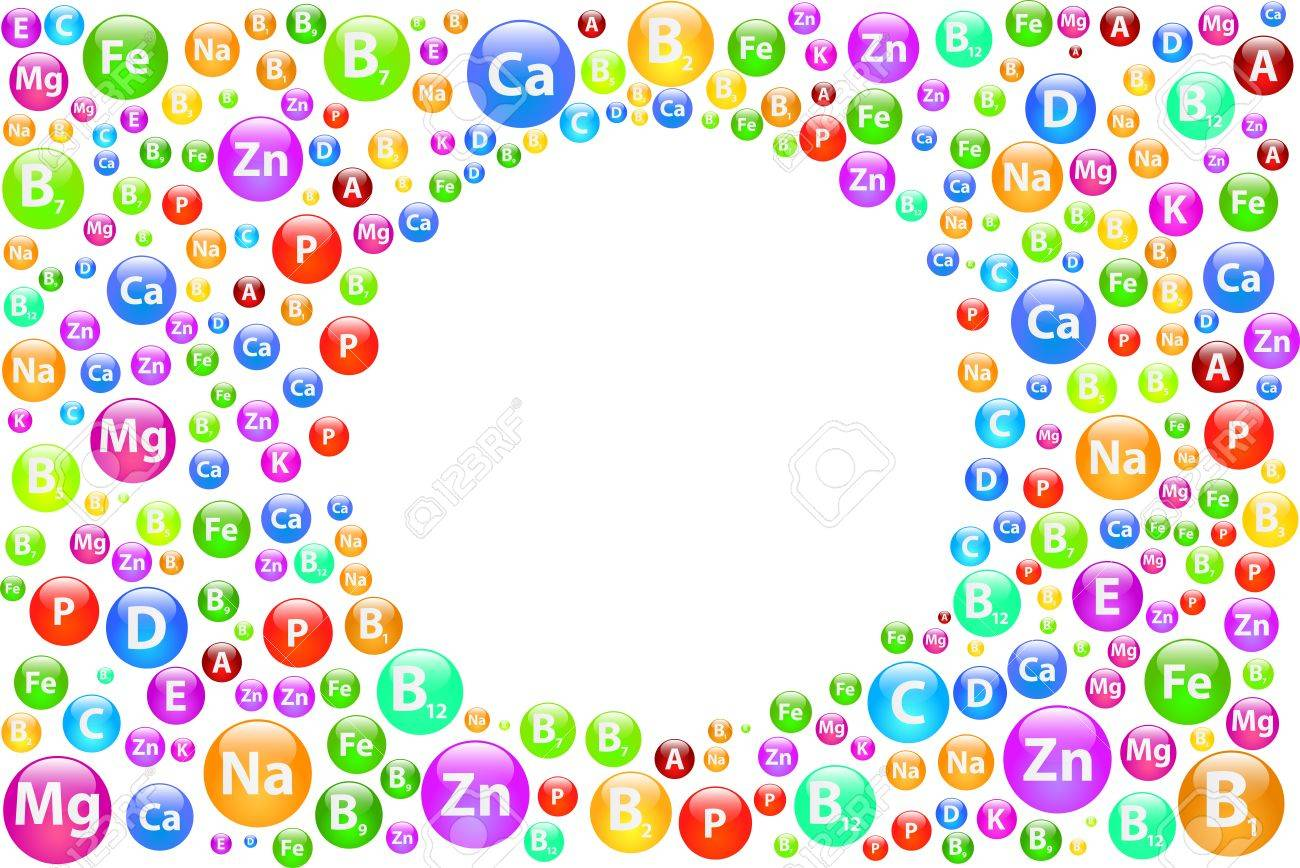 Vitamin Background With Circle Frame Stock Vector - 19939208
