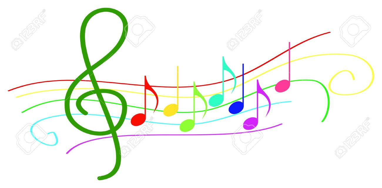 colored musical notes on stave royalty free cliparts vectors and