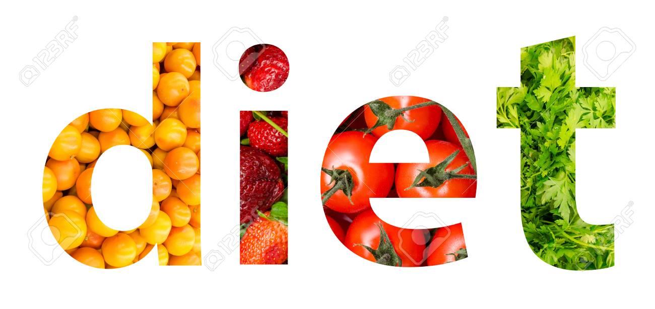 Obst Und Gemuse Diat Word Konzept Lizenzfreie Fotos Bilder Und