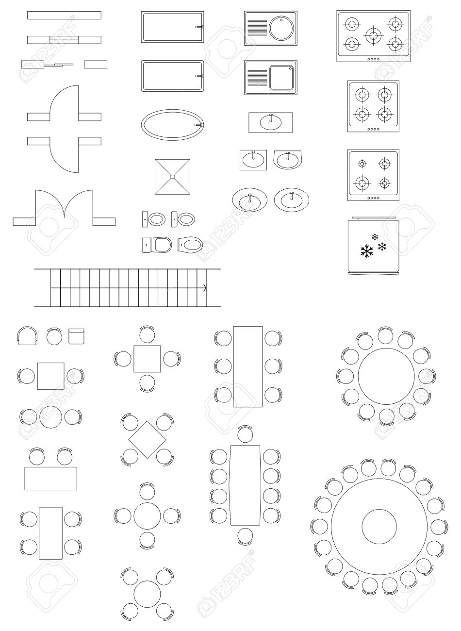Standard Symbols Used In Architecture Plans Icons Set Royalty Free