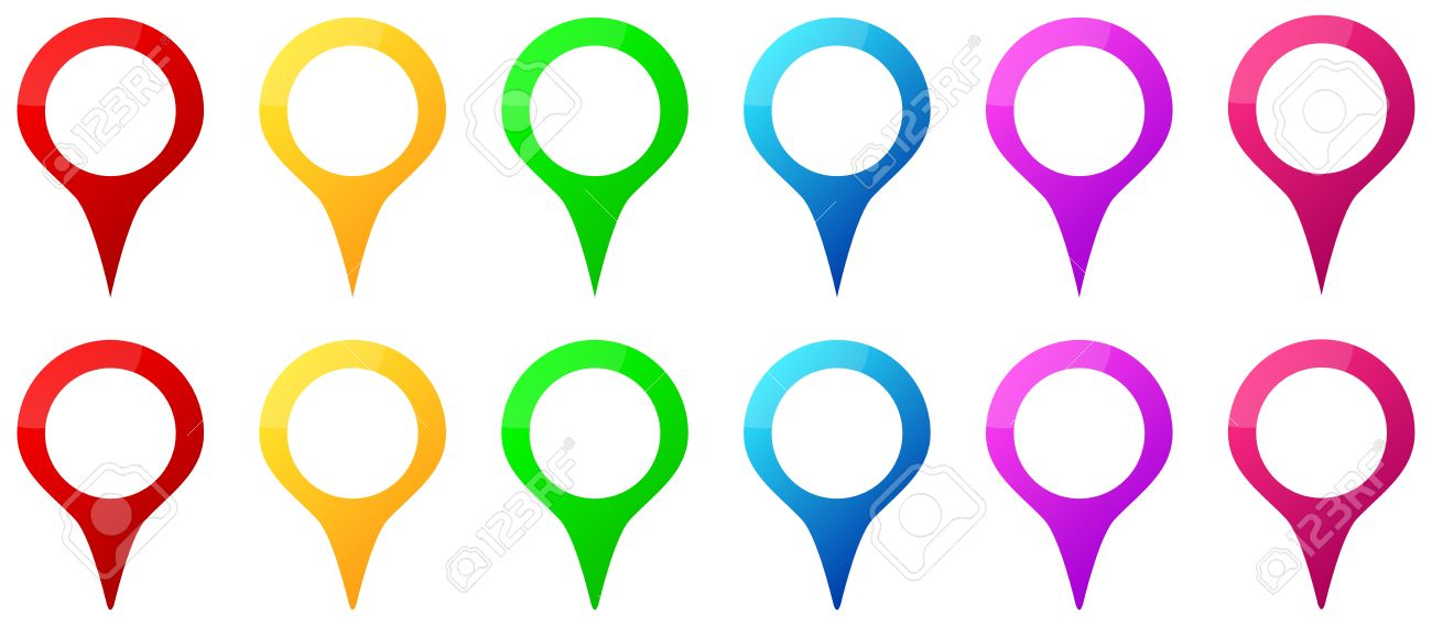 Colored Map Pins Icons For Gps Map Location Royalty Free Cliparts ...