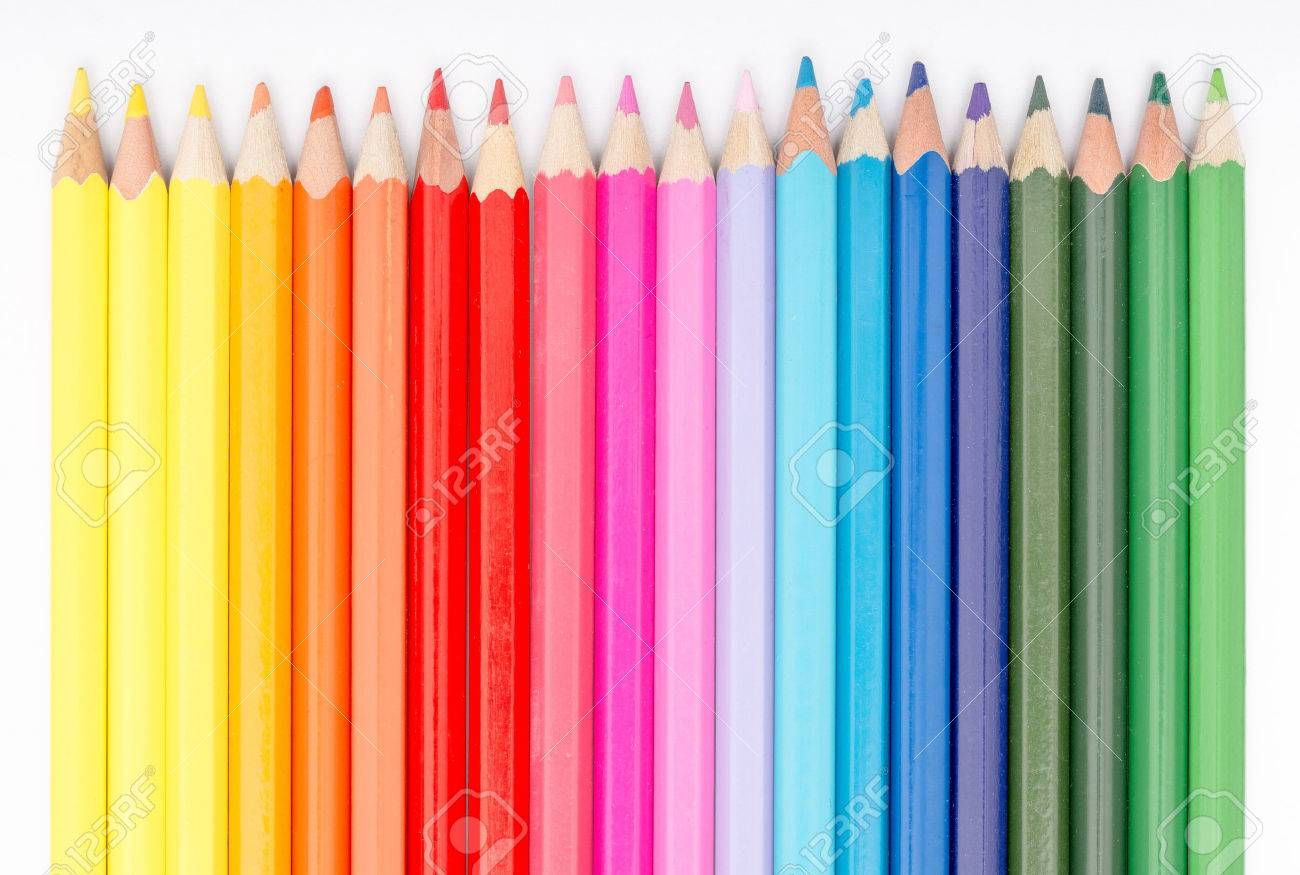 Close Up Of Coloring Crayons Arranged In Rainbow Line Stock Photo ...