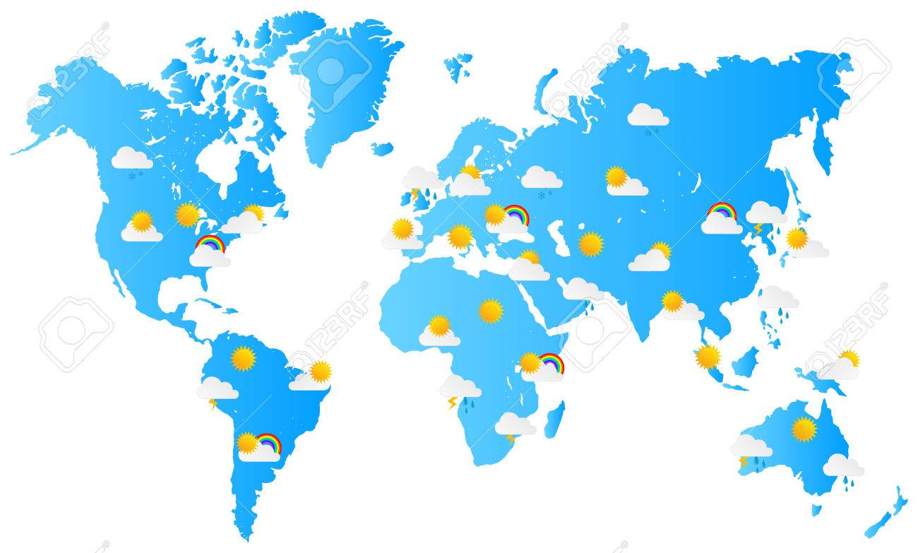 World Map Weather Forecast Vector Illustration Royalty Free