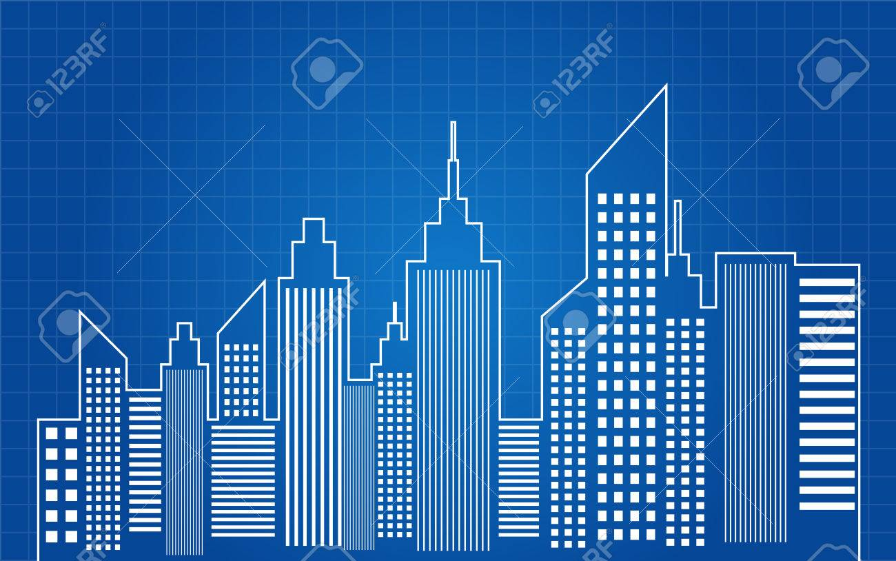 Architecture Blueprints Skyscraper city skyscrapers skyline blueprint royalty free cliparts, vectors