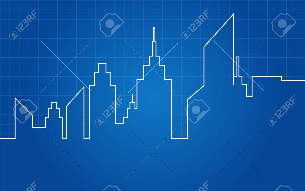 City Skyscrapers Skyline Architectural Blueprint Stock Vector 25320602
