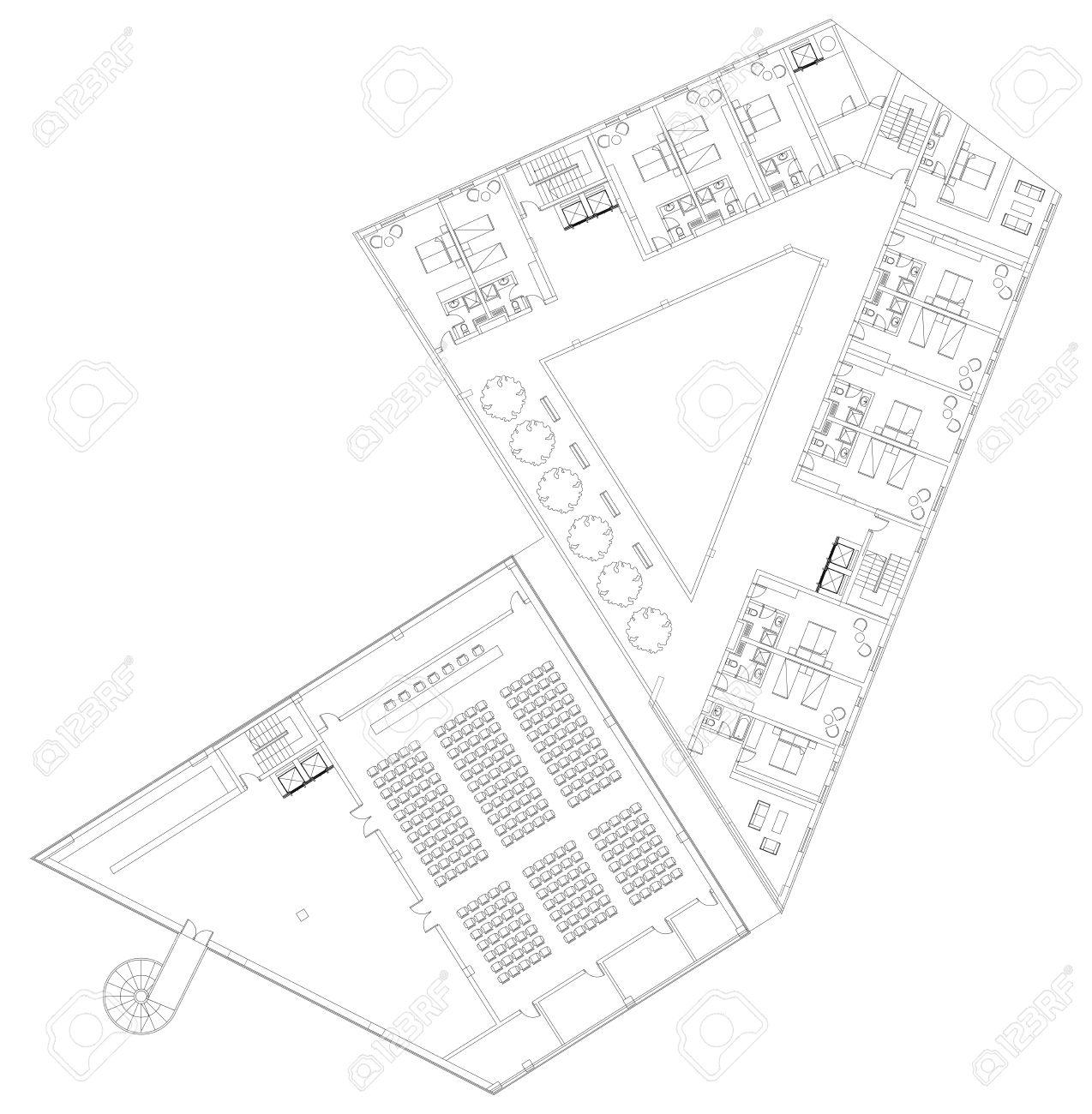 Modern Hotel Floor Architectural Plan Blueprint Royalty Free
