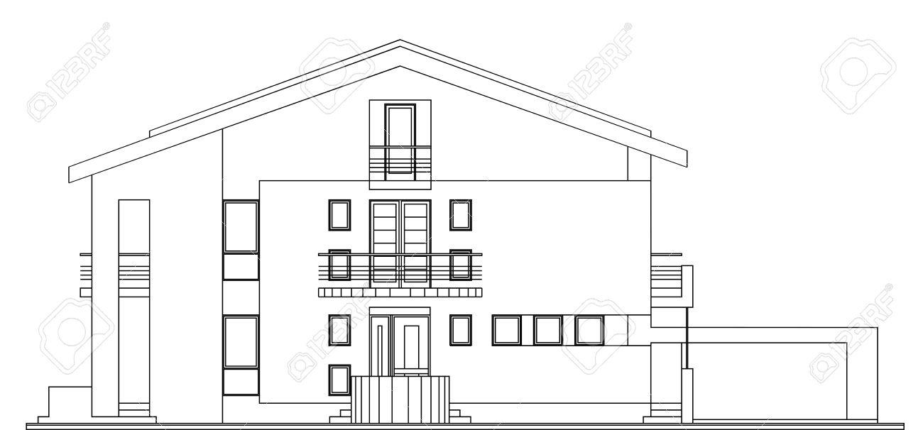 Modern american house facade architectural blueprint royalty free modern american house facade architectural blueprint stock vector 25411748 malvernweather Choice Image