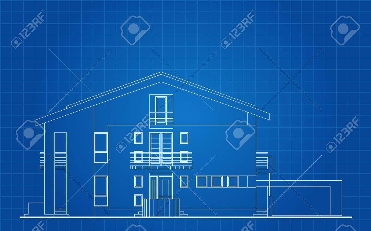 Modern american house facade architectural blueprint royalty free modern american house facade architectural blueprint stock vector 25411749 malvernweather Choice Image