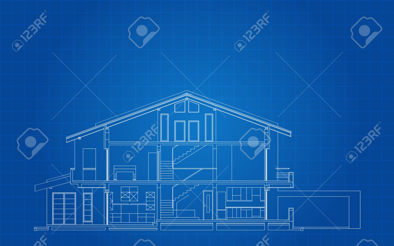 Modern american house facade section architectural blueprint modern american house facade section architectural blueprint stock vector 25411751 malvernweather Images
