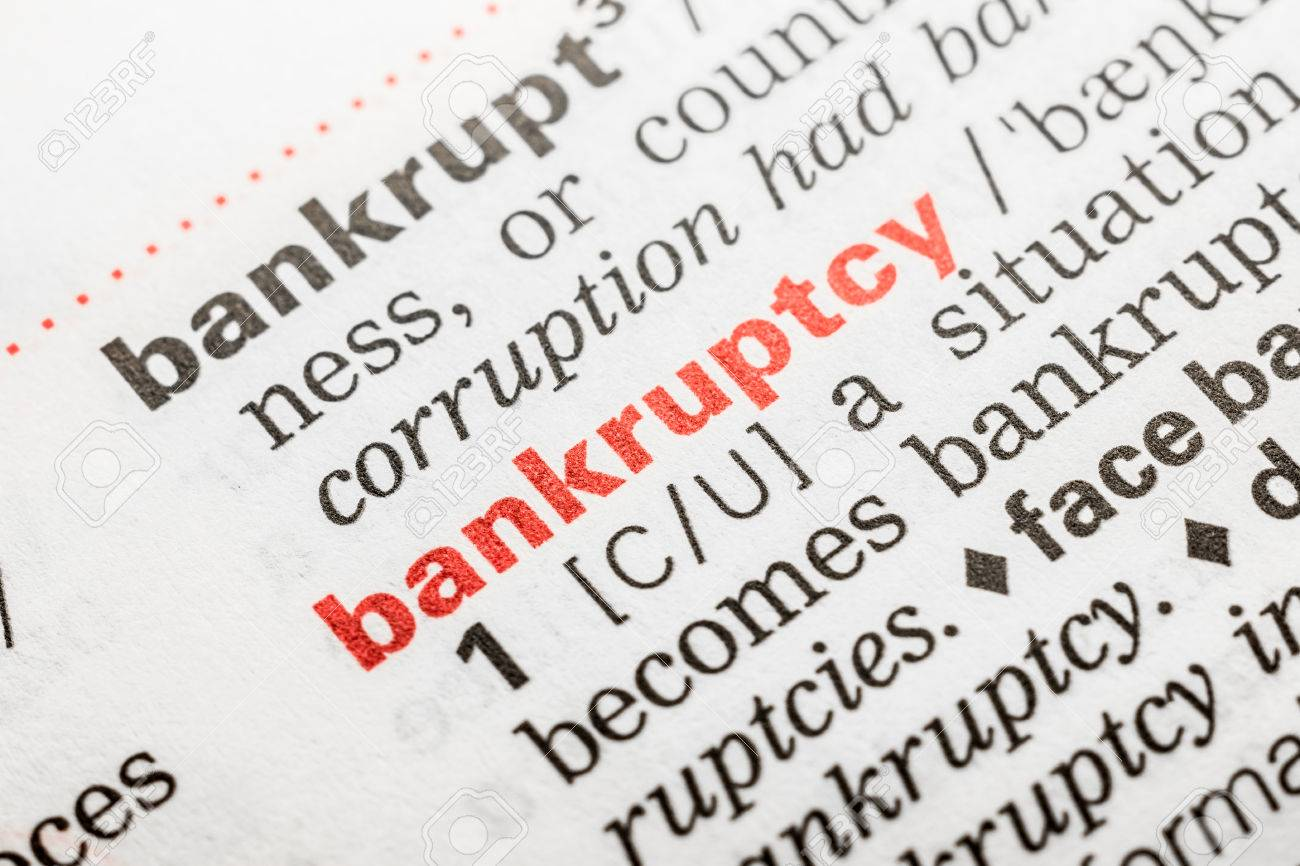 bankruptcy word definition in dictionary close up stock photo