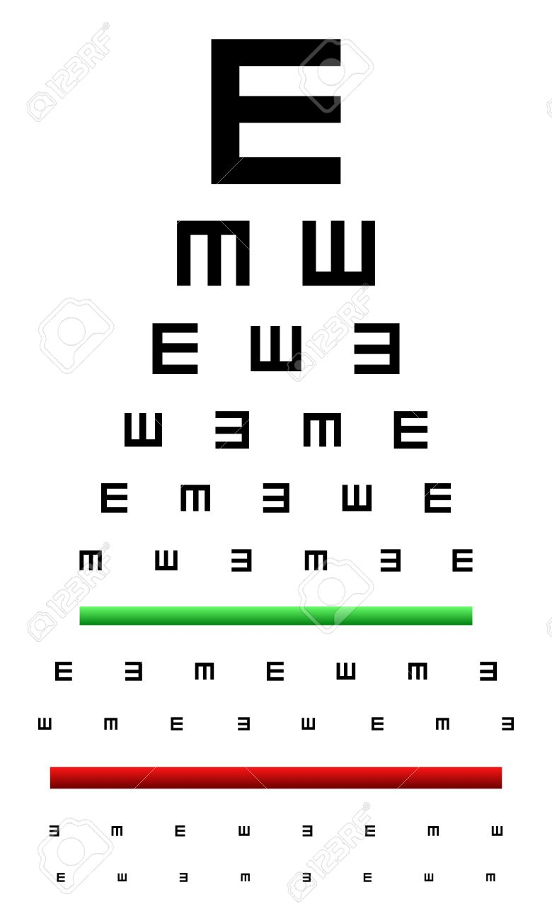 Snellen Eye Chart Test Used In Young Children Royalty Free ...