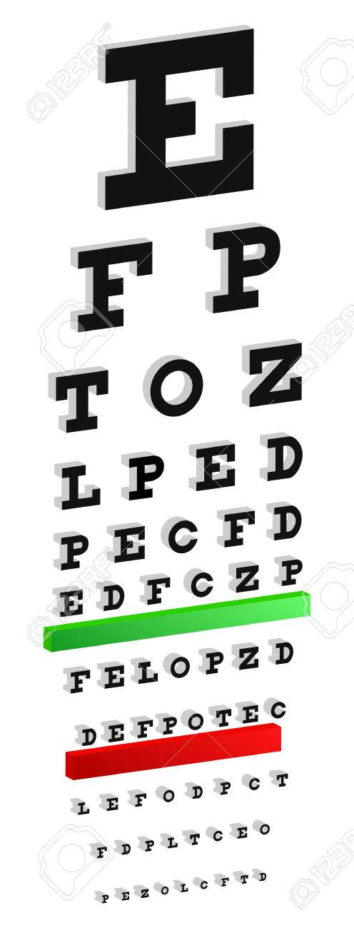 Classic 3d Snellen Eye Chart Test For Vision Disorders Royalty Free