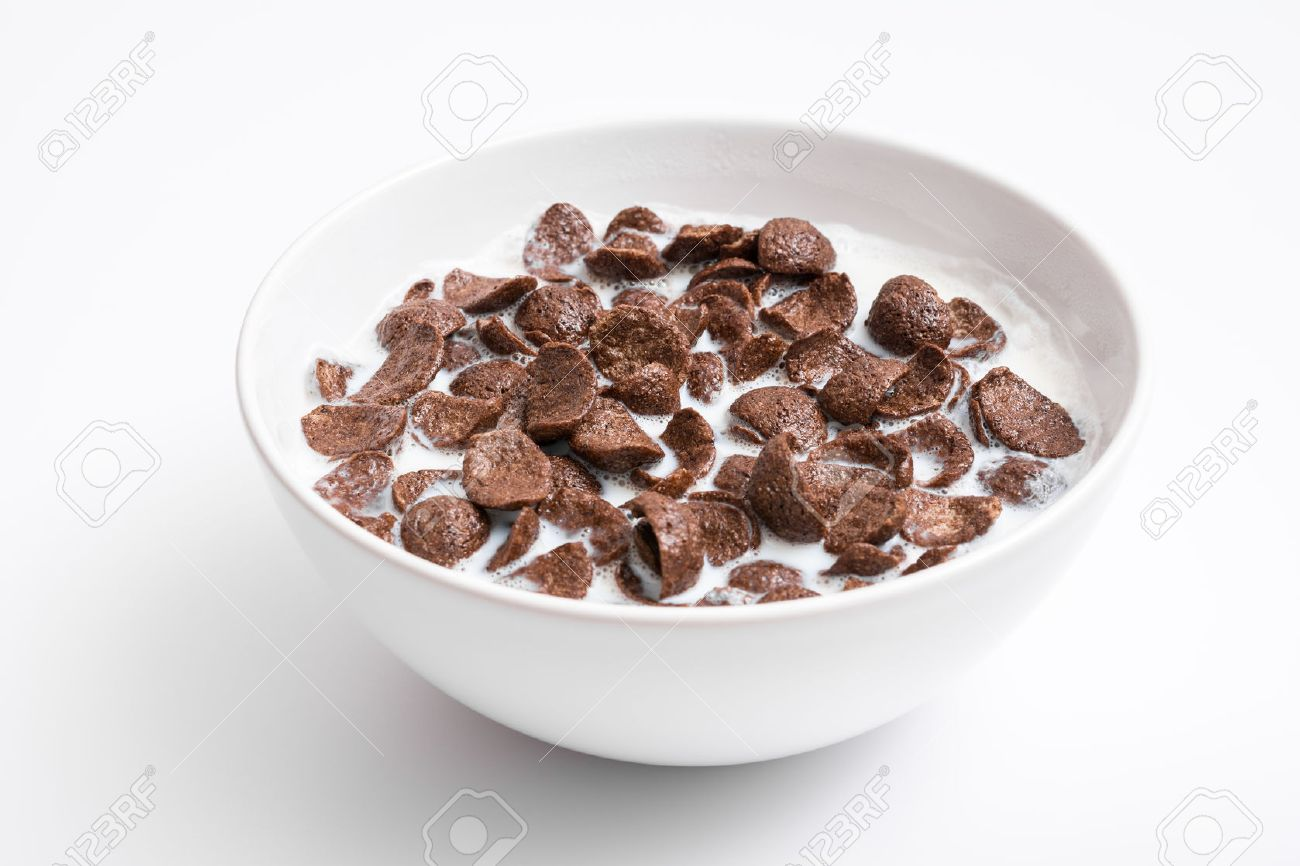 Breakfast Chocolate Cornflakes Cereal Bowl Close Up Stock Photo ...