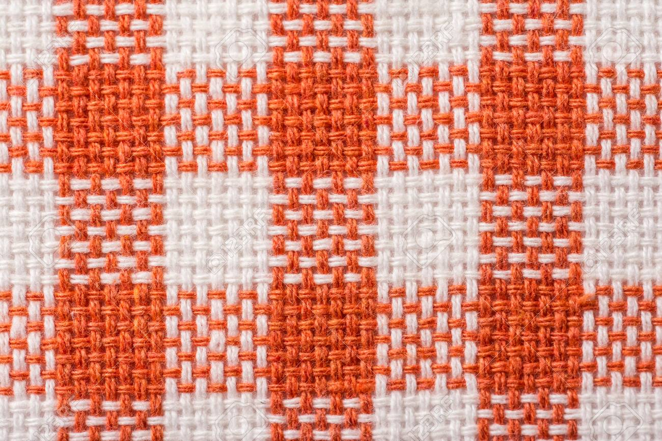 Orange Checked Kitchen Towel Texture Close Up Stock Photo   27785366