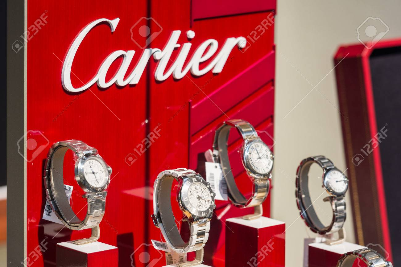 BUCHAREST ROMANIA JULY 10 2014 Cartier Watches In Shop Window