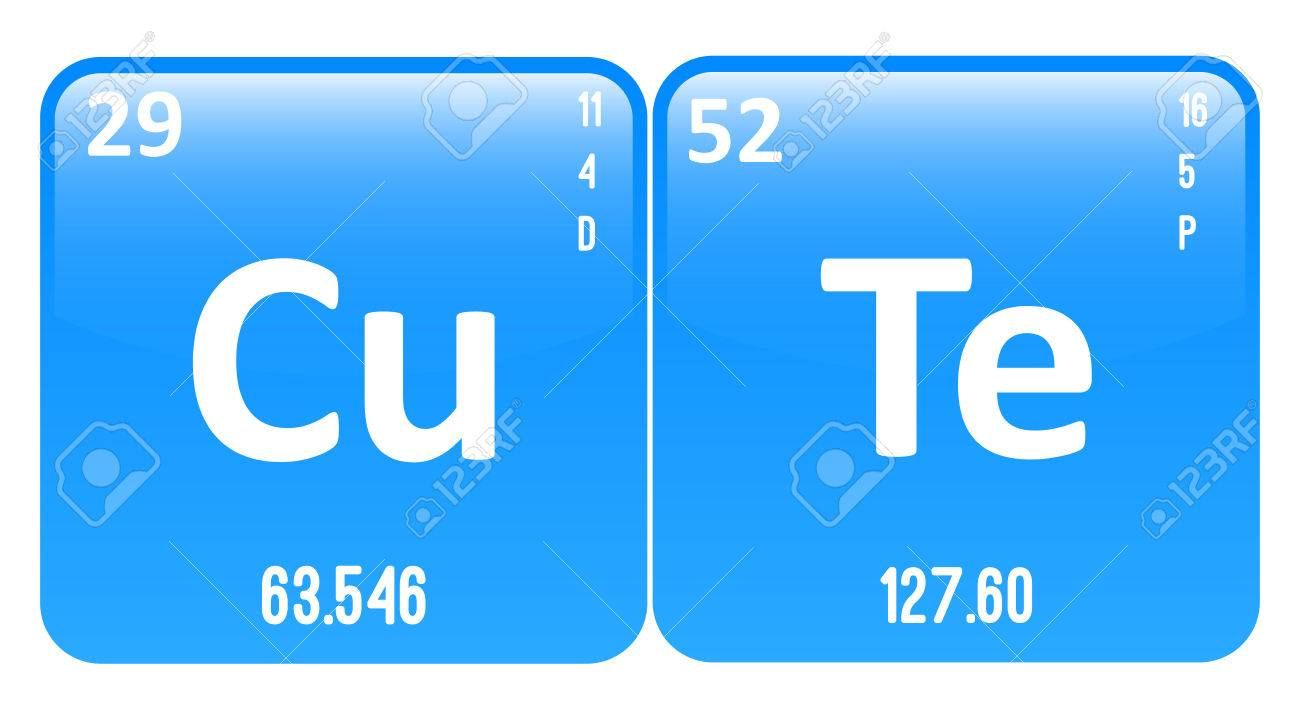 cute word made of periodic table elements copper and tellurium stock vector 29992652 - Periodic Table Copper