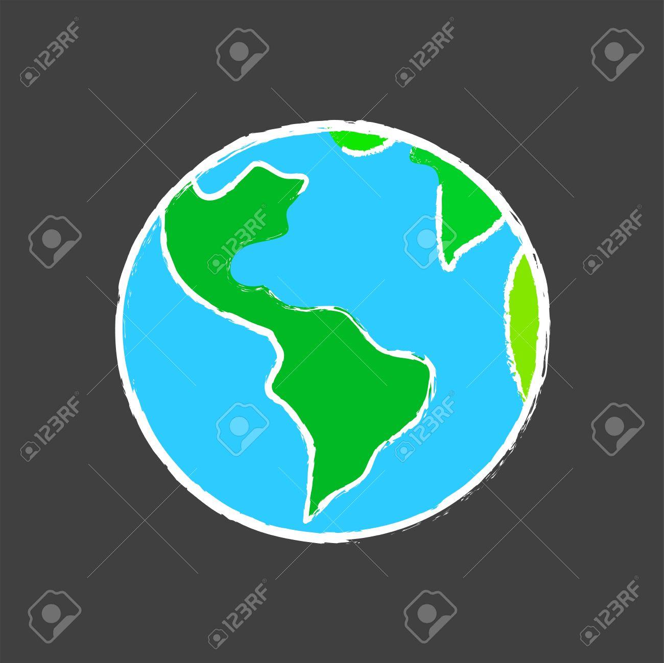 Dessin Planète Terre Sur L école Blackboard