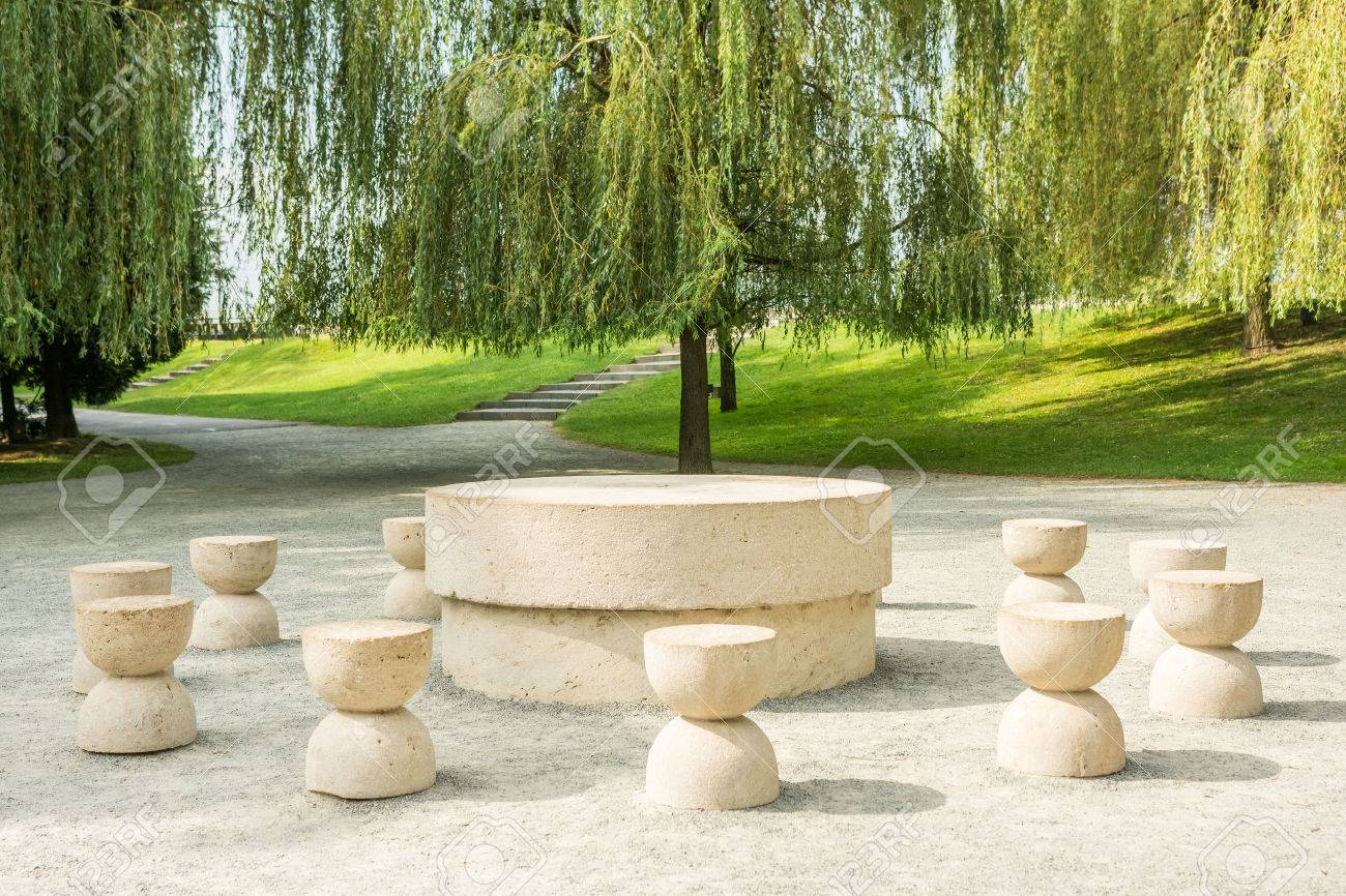 The Table Of Silence Is A Stone Sculpture Made By Constantin.. Stock ... for Brancusi Table Of Silence  174mzq
