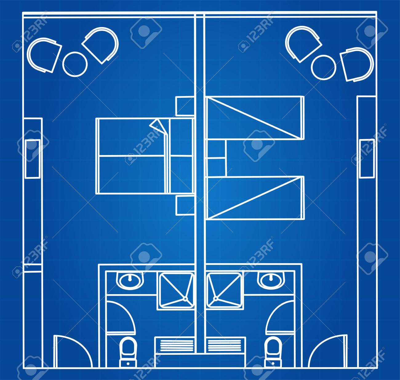 Architectural Blueprint Vector Of Standard Twin And Double Hotel