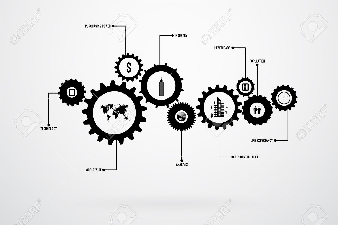 infographic design template vector with gears and cogs royalty free